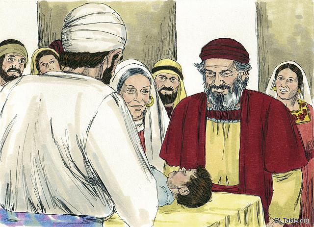 "St-Takla.org Image: Elizabeth's gave birth to a son. After 8 days the family came for the circumcision ceremony. They wanted to name him Zechariah, after his father. But Elizabeth said, 'No! His name is John!' 'What?' they exclaimed. 'There is no one in your family by that name.' (Luke 1: 57-61) - ""The birth of John the Baptist"" images set (Luke 1:5-25, Luke 1:57-80): image (8) - The Gospels, Bible illustrations by James Padgett (1931-2009), published by Sweet Media صورة في موقع الأنبا تكلا: ""وأما أليصابات فتم زمانها لتلد، فولدت ابنا. وسمع جيرانها وأقرباؤها أن الرب عظم رحمته لها، ففرحوا معها. وفي اليوم الثامن جاءوا ليختنوا الصبي، وسموه باسم أبيه زكريا. فأجابت أمه وقالت: «لا! بل يسمى يوحنا». فقالوا لها: «ليس أحد في عشيرتك تسمى بهذا الاسم»"" (لوقا 1: 57-61) - مجموعة ""ميلاد يوحنا المعمدان"" (لوقا 1: 5-25, لوقا 1: 57-80) - صورة (8) - صور الأناجيل الأربعة، رسم جيمز بادجيت (1931-2009)، إصدار شركة سويت ميديا"