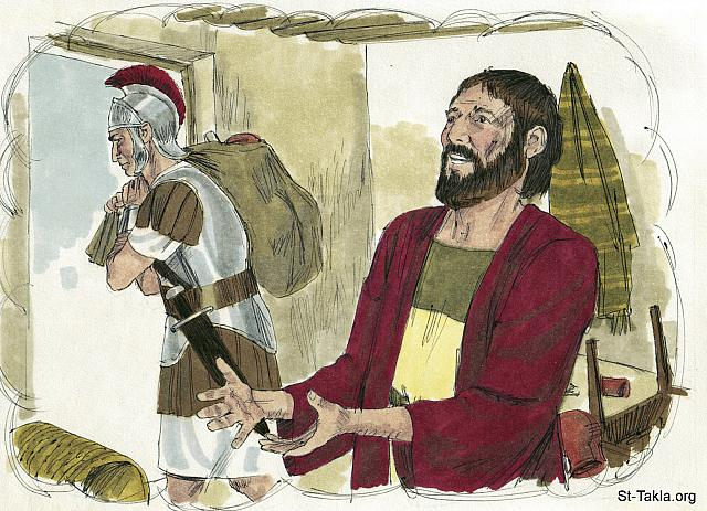 "St-Takla.org Image: ""Give to everyone who asks of you. And from him who takes away your goods do not ask them back"" (Luke 6: 30) - ""If anyone wants to sue you and take away your tunic, let him have your cloak also"" (Matthew 5: 40) - Luke, Bible illustrations by James Padgett (1931-2009), published by Sweet Media صورة في موقع الأنبا تكلا: ""وكل من سألك فأعطه، ومن أخذ الذي لك فلا تطالبه"" (لوقا 6: 30) - ""ومن أراد أن يخاصمك ويأخذ ثوبك فاترك له الرداء أيضا"" (متى 5: 40) - صور إنجيل لوقا، رسم جيمز بادجيت (1931-2009)، إصدار شركة سويت ميديا"
