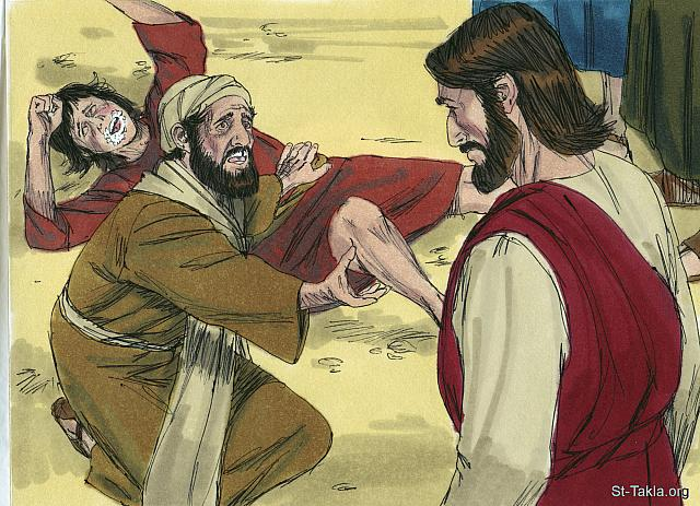 "St-Takla.org Image: 'If you can do anything, take pity on us and help us.' 'If you can?' said Jesus. 'Everything is possible for someone who believes.' Immediately the boy's father exclaimed, 'I do believe; help me overcome my unbelief!' (Mark 9: 23-24) - Bible illustrations by James Padgett (1931-2009), published by Sweet Media صورة في موقع الأنبا تكلا: ""فقال له يسوع: «إن كنت تستطيع أن تؤمن. كل شيء مستطاع للمؤمن». فللوقت صرخ أبو الولد بدموع وقال: «أومن يا سيد، فأعن عدم إيماني»."" (مرقس 9: 23-24)، رسم جيمز بادجيت (1931-2009)، إصدار شركة سويت ميديا"