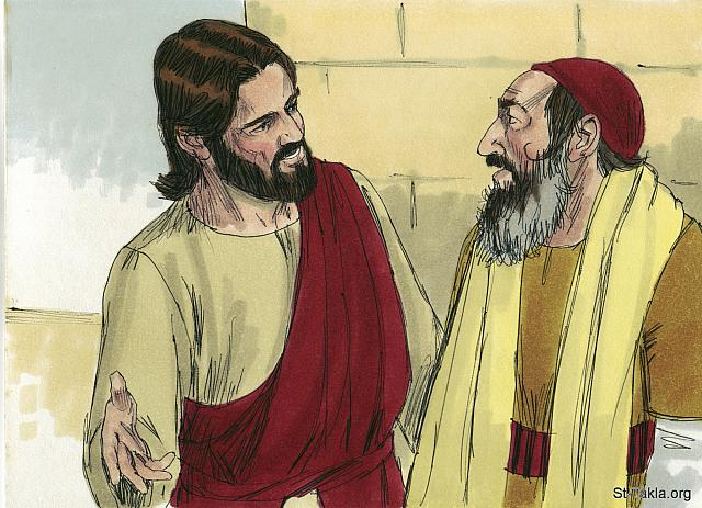 "St-Takla.org Image: Jesus concluded, 'In your opinion, which one of these three acted like a neighbor toward the man attacked by the robbers?' The teacher of the Law answered, 'The one who was kind to him.' Jesus replied, 'Go and do the same.' (Luke 10: 36-37) - ""Parable of the Good Samaritan"" images set (Luke 10:25-37): image (12) - The Gospels, Bible illustrations by James Padgett (1931-2009), published by Sweet Media صورة في موقع الأنبا تكلا: يسوع يسأل: ""فأي هؤلاء الثلاثة ترى صار قريبا للذي وقع بين اللصوص؟ فقال: «الذي صنع معه الرحمة». فقال له يسوع: «اذهب أنت أيضًا واصنع هكذا»"" (لوقا 10: 36-37) - مجموعة ""مثل السامري الصالح"" (لوقا 10: 25-37) - صورة (12) - صور الأناجيل الأربعة، رسم جيمز بادجيت (1931-2009)، إصدار شركة سويت ميديا"