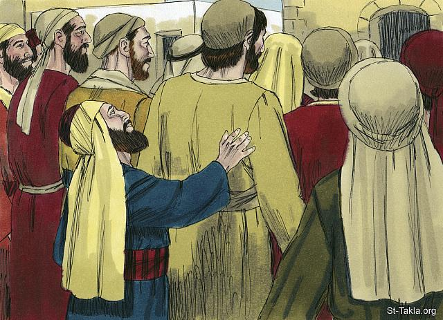 "St-Takla.org Image: He wanted desperately to see Jesus, but the crowd was in his way. Being a short man he couldn't see over the taller people in his way. (Luke 18: 3) - ""Zacchaeus the Tax Collector"" images set (Luke 19:1-10): image (3) - The Gospels, Bible illustrations by James Padgett (1931-2009), published by Sweet Media صورة في موقع الأنبا تكلا: ""وطلب أن يرى يسوع من هو، ولم يقدر من الجمع، لأنه كان قصير القامة"" (لوقا 18: 3) - مجموعة ""زكا العشار"" (لوقا 19: 1-10) - صورة (3) - صور الأناجيل الأربعة، رسم جيمز بادجيت (1931-2009)، إصدار شركة سويت ميديا"