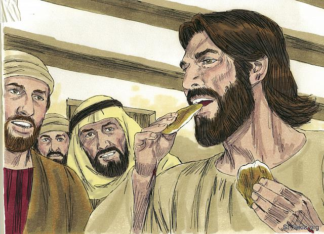 "St-Takla.org Image: They gave Him some broiled fish. They gave Him a piece of broiled fish, and Jesus ate it as they watched. They now knew they were not seeing a ghost. (Luke 24: 42-43) - ""Jesus appears to the disciples then Thomas"" images set (Mark 16:9-18, Luke 24:33-49, John 20:19-31): image (5) - The Gospels, Bible illustrations by James Padgett (1931-2009), published by Sweet Media صورة في موقع الأنبا تكلا: ""فناولوه جزءا من سمك مشوي، وشيئا من شهد عسل. فأخذ وأكل قدامهم"" (لوقا 24: 42-43) - مجموعة ""يسوع يظهر للتلاميذ ثم لتوما"" (مرقس 16: 9-18, لوقا 24: 33-49, يوحنا 20: 19-31) - صورة (5) - صور الأناجيل الأربعة، رسم جيمز بادجيت (1931-2009)، إصدار شركة سويت ميديا"