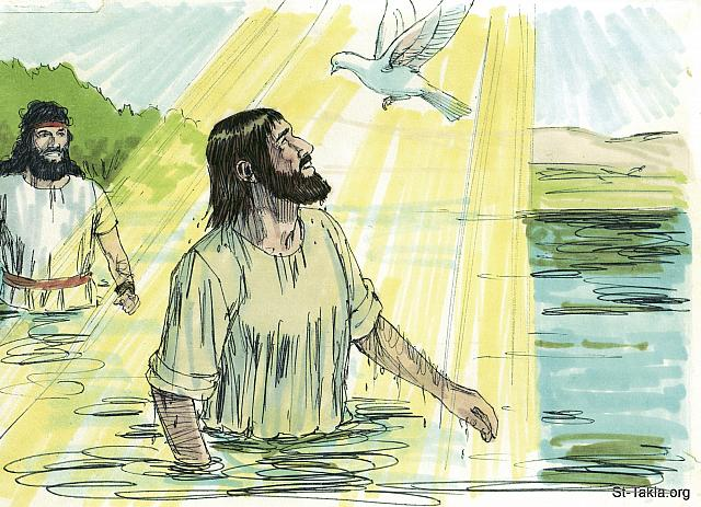 "St-Takla.org Image: As soon as Jesus came up out of the water, the heavens were opened and he saw the Spirit of God coming down in the form of a dove. A voice from heaven said, 'This is my beloved Son, and I am wonderfully pleased with Him.' John told people, 'When God sent me to baptize he told me, ""When you see the Holy Spirit descending and resting upon someone—He is the one you are looking for. He is the one who baptizes with the Holy Spirit."" I saw it happen to Jesus, and I testify that He is the Son of God.' (John 1: 32-34) (Matthew 3: 16-17) (Mark 1: 10-11) (Luke 3: 21-22) - ""John baptizes Jesus"" images set (Matthew 3:1-17, Mark 1:1-11, Luke 3:1-22, John 1:6-34): image (9) - The Gospels, Bible illustrations by James Padgett (1931-2009), published by Sweet Media صورة في موقع الأنبا تكلا: ""وشهد يوحنا قائلا: «إني قد رأيت الروح نازلا مثل حمامة من السماء فاستقر عليه. وأنا لم أكن أعرفه، لكن الذي أرسلني لأعمد بالماء، ذاك قال لي: الذي ترى الروح نازلا ومستقرا عليه، فهذا هو الذي يعمد بالروح القدس. وأنا قد رأيت وشهدت أن هذا هو ابن الله»"" (يوحنا 1: 32-34) - ""فلما اعتمد يسوع صعد للوقت من الماء، وإذا السماوات قد انفتحت له، فرأى روح الله نازلا مثل حمامة وآتيا عليه، وصوت من السماوات قائلا: « هذا هو ابني الحبيب الذي به سررت»"" (متى 3: 16-17) - ""وللوقت وهو صاعد من الماء رأى السماوات قد انشقت، والروح مثل حمامة نازلا عليه. وكان صوت من السماوات: «أنت ابني الحبيب الذي به سررت»"" (مرقس 1: 10-11) - ""وإذ كان يصلي انفتحت السماء، ونزل عليه الروح القدس بهيئة جسمية مثل حمامة. وكان صوت من السماء قائلا: «أنت ابني الحبيب، بك سررت»"" (لوقا 3: 21-22) - مجموعة ""يوحنا يعمد يسوع"" (متى 3: 1-17, مرقس 1: 1-11, لوقا 3: 1-22, يوحنا 1: 6-34) - صورة (9) - صور الأناجيل الأربعة، رسم جيمز بادجيت (1931-2009)، إصدار شركة سويت ميديا"