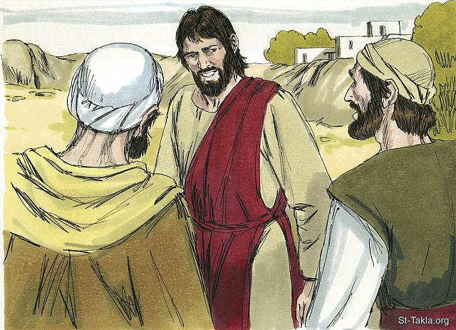 "St-Takla.org Image: The two disciples with John immediately followed after Jesus. Jesus turned and saw them following. 'What do you want?' He asked them. 'Sir,' they replied, 'where are you staying?' 'Come and see,' Jesus said. (John 1: 38-39) - ""Andrew, Peter, Philip and Nathanael meet Jesus"" images set (John 1:28-51): image (3) - The Gospels, Bible illustrations by James Padgett (1931-2009), published by Sweet Media صورة في موقع الأنبا تكلا: ""فالتفت يسوع ونظرهما يتبعان، فقال لهما: «ماذا تطلبان؟» فقالا: «ربي، الذي تفسيره: يا معلم، أين تمكث؟» فقال لهما: «تعاليا وانظرا»"" (يوحنا 1: 38-39) - مجموعة ""أندراوس وبطرس وفيلبس ونثنائيل يقابلون يسوع"" (يوحنا 1: 28-51) - صورة (3) - صور الأناجيل الأربعة، رسم جيمز بادجيت (1931-2009)، إصدار شركة سويت ميديا"