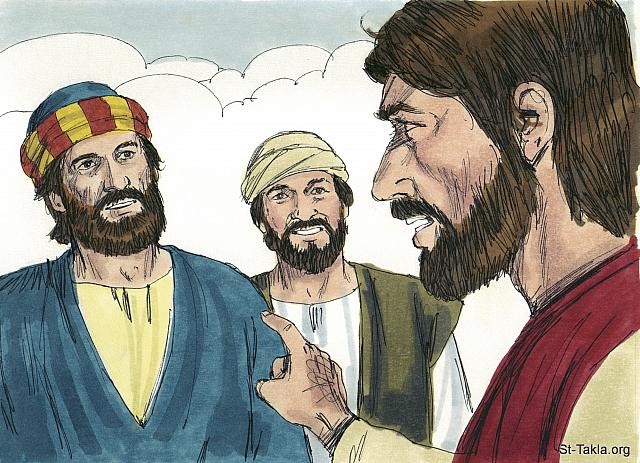 "St-Takla.org Image: Jesus looked intently at Simon and then said, 'You are Simon but you shall be called Peter, the rock!"" (John 1: 42) - ""Andrew, Peter, Philip and Nathanael meet Jesus"" images set (John 1:28-51): image (6) - The Gospels, Bible illustrations by James Padgett (1931-2009), published by Sweet Media صورة في موقع الأنبا تكلا: ""فنظر إليه يسوع وقال: «أنت سمعان بن يونا. أنت تدعى صفا» الذي تفسيره: بطرس"" (يوحنا 1: 42) - مجموعة ""أندراوس وبطرس وفيلبس ونثنائيل يقابلون يسوع"" (يوحنا 1: 28-51) - صورة (6) - صور الأناجيل الأربعة، رسم جيمز بادجيت (1931-2009)، إصدار شركة سويت ميديا"