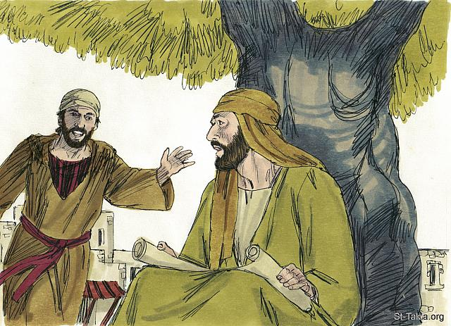 "St-Takla.org Image: Philip went off to find a friend called Nathanael. He was sitting in the shade of a fig tree. 'We have found the Messiah!' Philip exclaimed. 'The very person Moses and the prophets told about! His name is Jesus, from Nazareth!' (John 1: 44-45) - ""Andrew, Peter, Philip and Nathanael meet Jesus"" images set (John 1:28-51): image (9) - The Gospels, Bible illustrations by James Padgett (1931-2009), published by Sweet Media صورة في موقع الأنبا تكلا: ""وكان فيلبس من بيت صيدا، من مدينة أندراوس وبطرس. فيلبس وجد نثنائيل وقال له: «وجدنا الذي كتب عنه موسى في الناموس والأنبياء يسوع ابن يوسف الذي من الناصرة»"" (يوحنا 1: 44-45) - مجموعة ""أندراوس وبطرس وفيلبس ونثنائيل يقابلون يسوع"" (يوحنا 1: 28-51) - صورة (9) - صور الأناجيل الأربعة، رسم جيمز بادجيت (1931-2009)، إصدار شركة سويت ميديا"