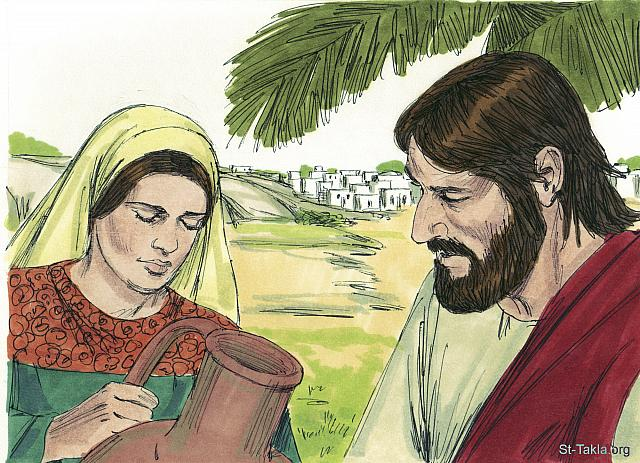 "St-Takla.org Image: 'You are right,' Jesus told her. 'You have been married to five men, and the man you live with now is not really your husband.' The woman was shocked Jesus knew so much about her and exclaimed, 'You are a prophet.' (John 4: 17-19) - ""Jesus talks with Samaritan woman"" images set (John 4:1-42): image (8) - The Gospels, Bible illustrations by James Padgett (1931-2009), published by Sweet Media صورة في موقع الأنبا تكلا: ""قال لها يسوع: «حسنا قلت: ليس لي زوج، لأنه كان لك خمسة أزواج، والذي لك الآن ليس هو زوجك. هذا قلت بالصدق». قالت له المرأة: يا سيد، أرى أنك نبي!"" (يوحنا 4: 17-19) - مجموعة ""يسوع يتحدث مع المرأة السامرية"" (يوحنا 4: 1-42) - صورة (8) - صور الأناجيل الأربعة، رسم جيمز بادجيت (1931-2009)، إصدار شركة سويت ميديا"