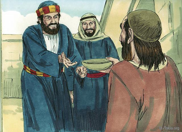 "St-Takla.org Image: Peter and John both looked straight at him. Peter said, 'Look at us.' The man looked at them hoping for money. Peter continued, 'I don't have silver or gold but I'll give you what I have. In the name of Jesus Christ of Nazareth get up and walk.' (Acts 3: 4-6) - ""A lame beggar is healed"" images set (Acts 3:1-26): image (3) - Acts, Bible illustrations by James Padgett (1931-2009), published by Sweet Media صورة في موقع الأنبا تكلا: ""فتفرس فيه بطرس مع يوحنا، وقال: «انظر إلينا!» فلاحظهما منتظرا أن يأخذ منهما شيئا. فقال بطرس: «ليس لي فضة ولا ذهب، ولكن الذي لي فإياه أعطيك: باسم يسوع المسيح الناصري قم وامش!»"" (أعمال الرسل 3: 4-6) - مجموعة ""شفاء الشحاذ الأعرج"" (أعمال الرسل 3: 1-26) - صورة (3) - صور سفر أعمال الرسل، رسم جيمز بادجيت (1931-2009)، إصدار شركة سويت ميديا"