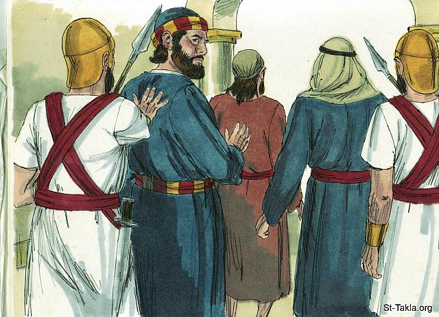 "St-Takla.org Image: Those listening were astonished at the courage of Peter and John. As the healed man was standing before them they were lost for words. So they ushered Peter and John out while they discussed what to do. (Acts 4: 13-15) - ""Peter & John arrested"" images set (Acts 4:1-37): image (8) - Acts, Bible illustrations by James Padgett (1931-2009), published by Sweet Media صورة في موقع الأنبا تكلا: ""فلما رأوا مجاهرة بطرس ويوحنا، ووجدوا أنهما إنسانان عديما العلم وعاميان، تعجبوا. فعرفوهما أنهما كانا مع يسوع. ولكن إذ نظروا الإنسان الذي شفي واقفا معهما، لم يكن لهم شيء يناقضون به. فأمروهما أن يخرجا إلى خارج المجمع، وتآمروا فيما بينهم"" (أعمال الرسل 4: 13-15) - مجموعة ""القبض على بطرس ويوحنا"" (أعمال الرسل 4: 1-37) - صورة (8) - صور سفر أعمال الرسل، رسم جيمز بادجيت (1931-2009)، إصدار شركة سويت ميديا"