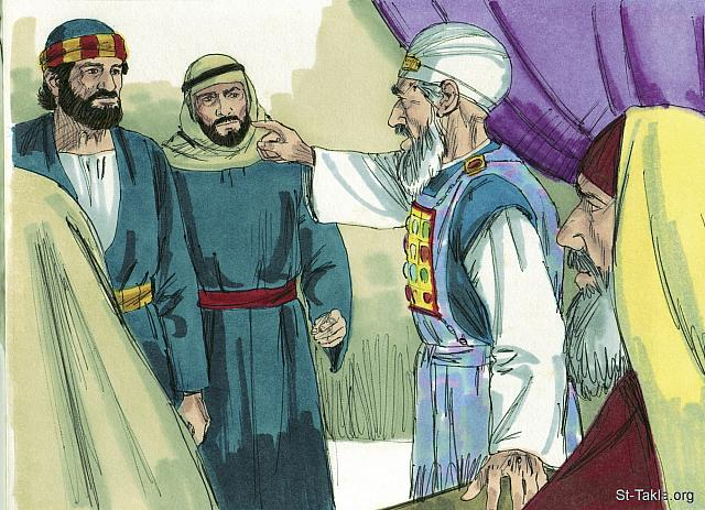 "St-Takla.org Image: Peter and John were brought back in and commanded not to teach in the name of Jesus. They replied, 'Which is right in God's eyes, to obey you or to obey God? You be the judges.' (Acts 4: 18-19) - ""Peter & John arrested"" images set (Acts 4:1-37): image (10) - Acts, Bible illustrations by James Padgett (1931-2009), published by Sweet Media صورة في موقع الأنبا تكلا: ""فدعوهما وأوصوهما أن لا ينطقا البتة، ولا يعلما باسم يسوع. فأجابهم بطرس ويوحنا وقالا: «إن كان حقا أمام الله أن نسمع لكم أكثر من الله، فاحكموا"" (أعمال الرسل 4: 18-19) - مجموعة ""القبض على بطرس ويوحنا"" (أعمال الرسل 4: 1-37) - صورة (10) - صور سفر أعمال الرسل، رسم جيمز بادجيت (1931-2009)، إصدار شركة سويت ميديا"