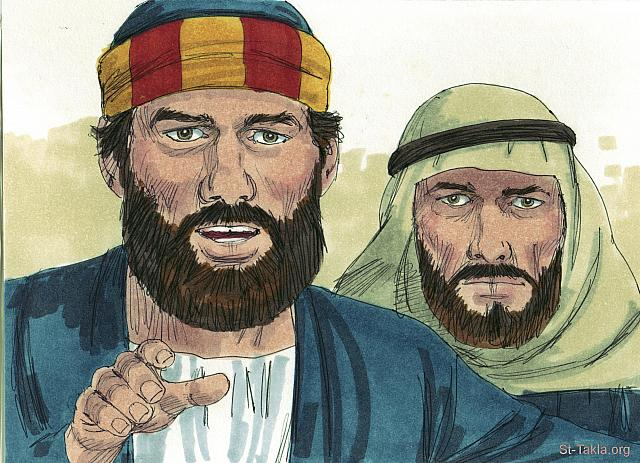 "St-Takla.org Image: 'As for us,' Peter and John announced, 'We are going to continue telling others what we have seen and heard.' (Acts 4: 20) - ""Peter & John arrested"" images set (Acts 4:1-37): image (11) - Acts, Bible illustrations by James Padgett (1931-2009), published by Sweet Media صورة في موقع الأنبا تكلا: بطرس ويوحنا: ""لأننا نحن لا يمكننا أن لا نتكلم بما رأينا وسمعنا"" (أعمال الرسل 4: 20) - مجموعة ""القبض على بطرس ويوحنا"" (أعمال الرسل 4: 1-37) - صورة (11) - صور سفر أعمال الرسل، رسم جيمز بادجيت (1931-2009)، إصدار شركة سويت ميديا"
