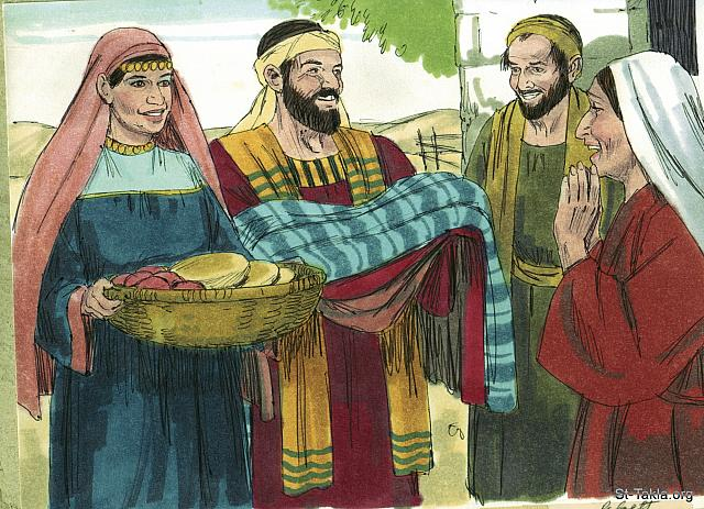 "St-Takla.org Image: The believers were united. None of them viewed their possessions as their own but shared what they had with each other. (Acts 4: 32) - ""Peter & John arrested"" images set (Acts 4:1-37): image (15) - Acts, Bible illustrations by James Padgett (1931-2009), published by Sweet Media صورة في موقع الأنبا تكلا: ""وكان لجمهور الذين آمنوا قلب واحد ونفس واحدة، ولم يكن أحد يقول إن شيئا من أمواله له، بل كان عندهم كل شيء مشتركا"" (أعمال الرسل 4: 32) - مجموعة ""القبض على بطرس ويوحنا"" (أعمال الرسل 4: 1-37) - صورة (15) - صور سفر أعمال الرسل، رسم جيمز بادجيت (1931-2009)، إصدار شركة سويت ميديا"