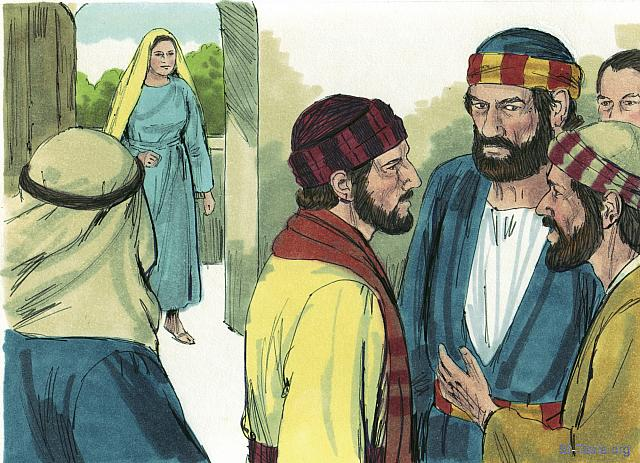 "St-Takla.org Image: Three hours later Ananias's wife Sapphira returned home, unaware what had happened to her husband. (Acts 5: 7) - ""Ananias and Sapphira"" images set (Acts 5:1-11): image (5) - Acts, Bible illustrations by James Padgett (1931-2009), published by Sweet Media صورة في موقع الأنبا تكلا: ""ثم حدث بعد مدة نحو ثلاث ساعات، أن امرأته دخلت، وليس لها خبر ما جرى"" (أعمال الرسل 5: 7) - مجموعة ""سفيرة وحنانيا"" (أعمال الرسل 5: 1-11) - صورة (5) - صور سفر أعمال الرسل، رسم جيمز بادجيت (1931-2009)، إصدار شركة سويت ميديا"