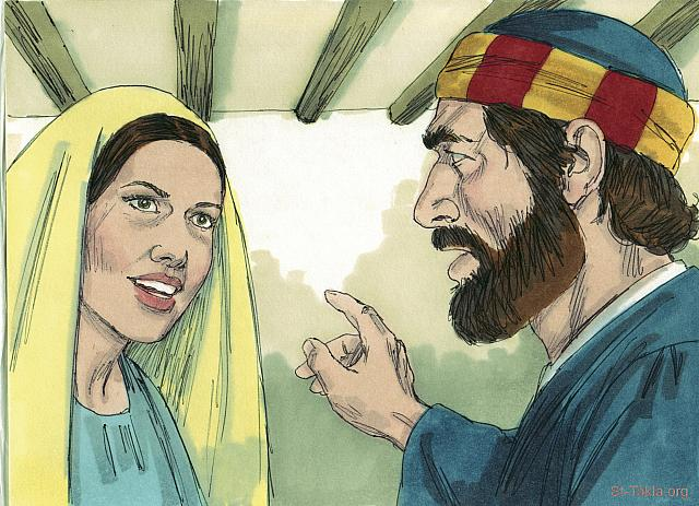 "St-Takla.org Image: Peter asked, 'Is the money you gave the full amount you got for the land you sold?' 'Yes,' she lied. 'That is the price.' (Acts 5: 8) - ""Ananias and Sapphira"" images set (Acts 5:1-11): image (6) - Acts, Bible illustrations by James Padgett (1931-2009), published by Sweet Media صورة في موقع الأنبا تكلا: ""فأجابها بطرس: «قولي لي: أبهذا المقدار بعتما الحقل؟» فقالت: «نعم، بهذا المقدار»"" (أعمال الرسل 5: 8) - مجموعة ""سفيرة وحنانيا"" (أعمال الرسل 5: 1-11) - صورة (6) - صور سفر أعمال الرسل، رسم جيمز بادجيت (1931-2009)، إصدار شركة سويت ميديا"