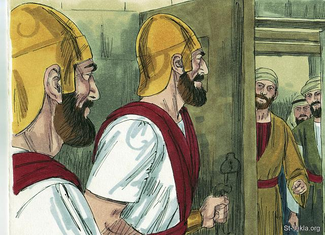 "St-Takla.org Image: The High Priest and his associates became very jealous of the popularity of the Apostles. So they had them arrested and put in prison. (Acts 5: 17-18) - ""The apostles are persecuted"" images set (Acts 5:12-42): image (2) - Acts, Bible illustrations by James Padgett (1931-2009), published by Sweet Media صورة في موقع الأنبا تكلا: ""فقام رئيس الكهنة وجميع الذين معه، الذين هم شيعة الصدوقيين، وامتلأوا غيرة فألقوا أيديهم على الرسل ووضعوهم في حبس العامة"" (أعمال الرسل 5: 17-18) - مجموعة ""اضطهاد الرسل"" (أعمال الرسل 5: 12-42) - صورة (2) - صور سفر أعمال الرسل، رسم جيمز بادجيت (1931-2009)، إصدار شركة سويت ميديا"