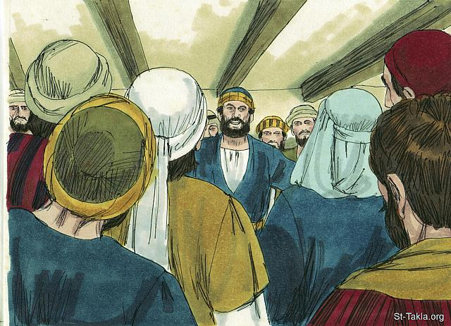 "St-Takla.org Image: 'It's not right that we should neglect our work teaching people about Jesus to supervise the food being given out,' The disciples explained. (Acts 6: 2) - ""Stephen is martyred"" images set (Acts 6-7): image (2) - Acts, Bible illustrations by James Padgett (1931-2009), published by Sweet Media صورة في موقع الأنبا تكلا: ""فدعا الاثنا عشر جمهور التلاميذ وقالوا: «لا يرضي أن نترك نحن كلمة الله ونخدم موائد"" (أعمال الرسل 6: 2) - مجموعة ""استشهاد استفانوس"" (أعمال الرسل 6-7) - صورة (2) - صور سفر أعمال الرسل، رسم جيمز بادجيت (1931-2009)، إصدار شركة سويت ميديا"