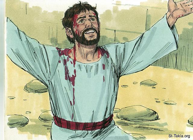 "St-Takla.org Image: While they were stoning him Stephen prayed, 'Lord Jesus, receive my spirit.' Then he fell on his knees and cried out, 'Lord, do not hold this sin against them.' (Acts 7: 59-60) - ""Stephen is martyred"" images set (Acts 6-7): image (16) - Acts, Bible illustrations by James Padgett (1931-2009), published by Sweet Media صورة في موقع الأنبا تكلا: ""فكانوا يرجمون استفانوس وهو يدعو ويقول: «أيها الرب يسوع اقبل روحي». ثم جثا على ركبتيه وصرخ بصوت عظيم: «يا رب، لا تقم لهم هذه الخطية»"" (أعمال الرسل 7: 59-60) - مجموعة ""استشهاد استفانوس"" (أعمال الرسل 6-7) - صورة (16) - صور سفر أعمال الرسل، رسم جيمز بادجيت (1931-2009)، إصدار شركة سويت ميديا"