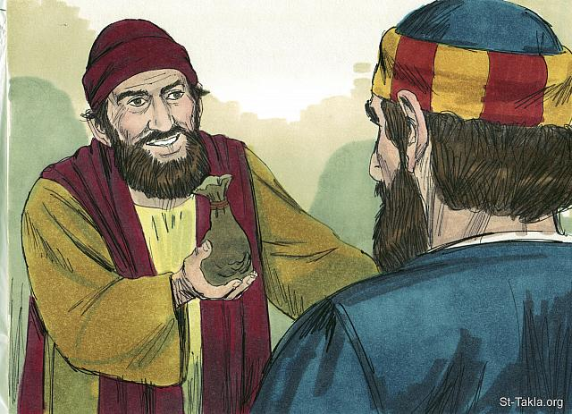 "St-Takla.org Image: When Simon saw the power of the Holy Spirit at work he offered money to Peter. 'Give me this ability to put my hands on people so they receive the Holy Spirit,' he begged. (Acts 8: 18-19) - ""Philip and Simon the sorcerer"" images set (Acts 8:1-25): image (9) - Acts, Bible illustrations by James Padgett (1931-2009), published by Sweet Media صورة في موقع الأنبا تكلا: ""ولما رأى سيمون أنه بوضع أيدي الرسل يعطى الروح القدس قدم لهما دراهم قائلا: «أعطياني أنا أيضا هذا السلطان، حتى أي من وضعت عليه يدي يقبل الروح القدس»"" (أعمال الرسل 8: 18-19) - مجموعة ""فيلبس والساحر سيمون"" (أعمال الرسل 8: 1-25) - صورة (9) - صور سفر أعمال الرسل، رسم جيمز بادجيت (1931-2009)، إصدار شركة سويت ميديا"