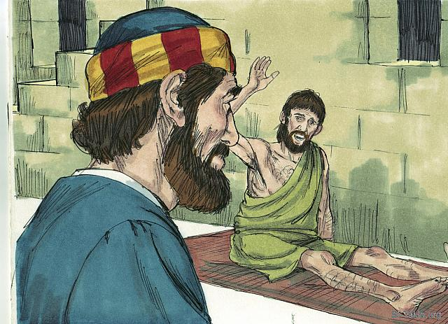 "St-Takla.org Image: Peter met a paralyzed man called Aeneas who had been unable to get up from his bed mat for 8 years. (Acts 9: 33) - ""Peter and Aeneas"" images set (Acts 9:32-35): image (4) - Acts, Bible illustrations by James Padgett (1931-2009), published by Sweet Media صورة في موقع الأنبا تكلا: ""فوجد هناك إنسانا اسمه إينياس مضطجعا على سرير منذ ثماني سنين، وكان مفلوجا"" (أعمال الرسل 9: 33) - مجموعة ""بطرس وإينياس"" (أعمال الرسل 9: 32-35) - صورة (4) - صور سفر أعمال الرسل، رسم جيمز بادجيت (1931-2009)، إصدار شركة سويت ميديا"