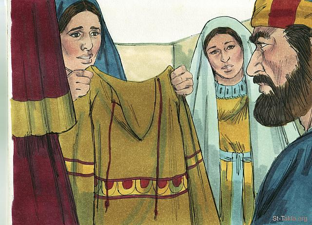 "St-Takla.org Image: When Peter arrived, he was taken upstairs to the room. All the widows stood around him, crying and showing him the robes and other clothing that Dorcas had made for the poor while she was alive. (Acts 9: 39) - ""Tabitha (Dorcas) is raised to life"" images set (Acts 9:36-43): image (8) - Acts, Bible illustrations by James Padgett (1931-2009), published by Sweet Media صورة في موقع الأنبا تكلا: ""فلما وصل صعدوا به إلى العلية، فوقفت لديه جميع الأرامل يبكين ويرين أقمصة وثيابا مما كانت تعمل غزالة وهي معهن"" (أعمال الرسل 9: 39) - مجموعة ""إقامة غزالة (طابيثا) من الموت"" (أعمال الرسل 9: 36-43) - صورة (8) - صور سفر أعمال الرسل، رسم جيمز بادجيت (1931-2009)، إصدار شركة سويت ميديا"