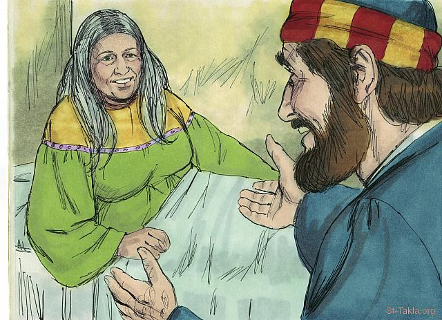 "St-Takla.org Image: Tabitha opened her eyes and sat up. Peter took her by the hand and helped her to her feet. (Acts 9: 40, 41) - ""Tabitha (Dorcas) is raised to life"" images set (Acts 9:36-43): image (10) - Acts, Bible illustrations by James Padgett (1931-2009), published by Sweet Media صورة في موقع الأنبا تكلا: ""ففتحت عينيها. ولما أبصرت بطرس جلست، فناولها يده وأقامها"" (أعمال الرسل 9: 40، 41) - مجموعة ""إقامة غزالة (طابيثا) من الموت"" (أعمال الرسل 9: 36-43) - صورة (10) - صور سفر أعمال الرسل، رسم جيمز بادجيت (1931-2009)، إصدار شركة سويت ميديا"