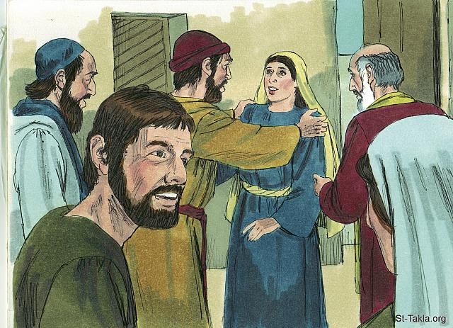"St-Takla.org Image: 'You're out of your mind,' they told her. Rhoda insisted she had heard Peter's voice. Peter kept on knocking. (Acts 12: 15-16) - ""Peter's miraculous escape from prison"" images set (Acts 12:1-24): image (9) - Acts, Bible illustrations by James Padgett (1931-2009), published by Sweet Media صورة في موقع الأنبا تكلا: الجارية رودا: ""فقالوا لها: «أنت تهذين!». وأما هي فكانت تؤكد أن هكذا هو. فقالوا: «إنه ملاكه!». وأما بطرس فلبث يقرع"" (أعمال الرسل 12: 15-16) - مجموعة ""هروب بطرس المعجزي من السجن"" (أعمال الرسل 12: 1-24) - صورة (9) - صور سفر أعمال الرسل، رسم جيمز بادجيت (1931-2009)، إصدار شركة سويت ميديا"
