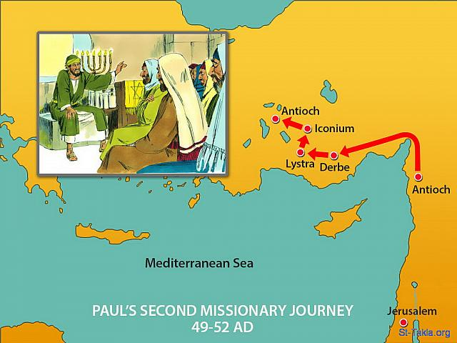 "St-Takla.org Image: Map: Part of Paul's Second Missionary Journey (49-52 AD): They then moved onto Derbe and the other nearby places Paul had visited on his first trip. (Acts 16: 1) - ""Paul and Silas travel to Philippi"" images set (Acts 15:36 - Acts 16:15): image (6) - Acts, Bible illustrations (1931-2009), published by Sweet Media صورة في موقع الأنبا تكلا: خريطة جانب من رحلة بولس الرسول التبشيرية الثانية (49-52 م.): ""ثم وصل إلى دربة ولسترة"" (أعمال الرسل 16: 1) - مجموعة ""بولس وسيلا يرتحلان إلى فيلبي"" (أعمال الرسل 15: 36 - أعمال الرسل 16: 15) - صورة (6) - صور سفر أعمال الرسل (1931-2009)، إصدار شركة سويت ميديا"