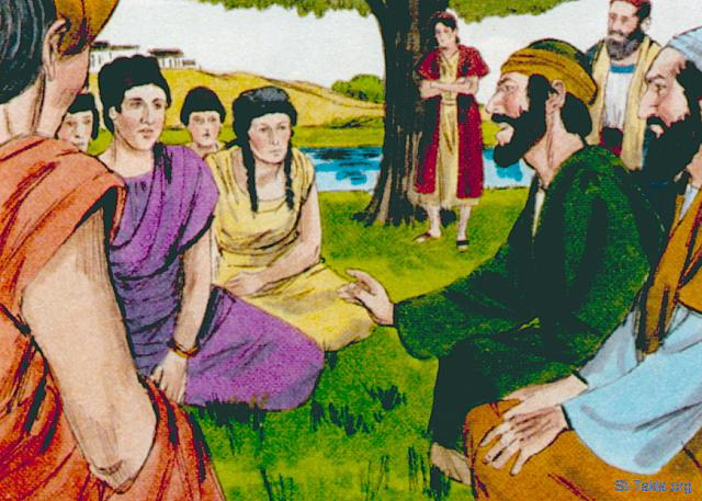 "St-Takla.org Image: ""And on the Sabbath day we went out of the city to the riverside, where prayer was customarily made; and we sat down and spoke to the women who met there"" (Acts 16: 13) - Acts, Bible illustrations by James Padgett (1931-2009), published by Sweet Media صورة في موقع الأنبا تكلا: ""وفي يوم السبت خرجنا إلى خارج المدينة عند نهر، حيث جرت العادة أن تكون صلاة، فجلسنا وكنا نكلم النساء اللواتي اجتمعن"" (أعمال الرسل 16: 13) - صور سفر الأعمال، رسم جيمز بادجيت (1931-2009)، إصدار شركة سويت ميديا"
