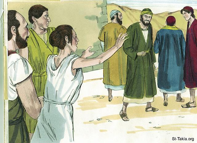 "St-Takla.org Image: She chased after Paul and the others shouting, 'These men are servants of the Most High God, and they have come to tell you how to be saved.' (Acts 16: 17) - ""Paul and Silas in prison"" images set (Acts 16:16-40): image (2) - Acts, Bible illustrations by James Padgett (1931-2009), published by Sweet Media صورة في موقع الأنبا تكلا: ""هذه اتبعت بولس وإيانا وصرخت قائلة: «هؤلاء الناس هم عبيد الله العلي، الذين ينادون لكم بطريق الخلاص»"" (أعمال الرسل 16: 17) - مجموعة ""بولس وسيلا في السجن"" (أعمال الرسل 16: 16-40) - صورة (2) - صور سفر أعمال الرسل، رسم جيمز بادجيت (1931-2009)، إصدار شركة سويت ميديا"