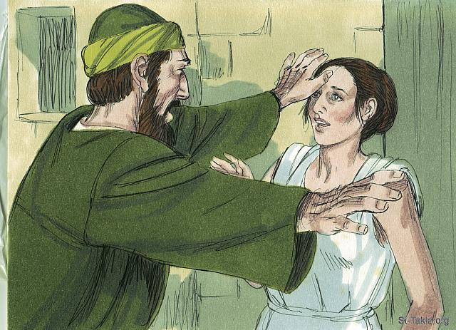 "St-Takla.org Image: This went on day after day until Paul got so exasperated that he turned and said to the demon within her, 'I command you in the name of Jesus Christ to come out of her.' Instantly it left her. (Acts 16: 18) - ""Paul and Silas in prison"" images set (Acts 16:16-40): image (3) - Acts, Bible illustrations by James Padgett (1931-2009), published by Sweet Media صورة في موقع الأنبا تكلا: ""وكانت تفعل هذا أياما كثيرة. فضجر بولس والتفت إلى الروح وقال: «أنا آمرك باسم يسوع المسيح أن تخرج منها!». فخرج في تلك الساعة"" (أعمال الرسل 16: 18) - مجموعة ""بولس وسيلا في السجن"" (أعمال الرسل 16: 16-40) - صورة (3) - صور سفر أعمال الرسل، رسم جيمز بادجيت (1931-2009)، إصدار شركة سويت ميديا"
