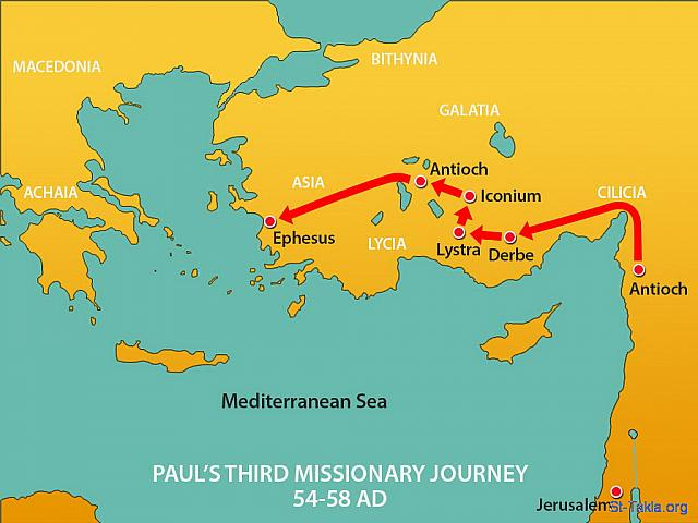 "St-Takla.org Image: Map: Part of Paul's Third Missionary Journey (54-58 AD): After his second missionary trip Paul spent time in Antioch before setting off inland through Galatia and Phrygia encouraging the Christians who met there. He then made his way to Ephesus, the fourth largest city in the Roman Empire, with a population of over 250,000. (Acts 19: 1) - ""Paul in Ephesus"" images set (Acts 19:1-22): image (1) - Acts, Bible illustrations (1931-2009), published by Sweet Media صورة في موقع الأنبا تكلا: خريطة جانب من رحلة بولس الرسول التبشيرية الثالثة (54-58 م.): ""فحدث فيما كان أبلوس في كورنثوس، أن بولس بعد ما اجتاز في النواحي العالية جاء إلى أفسس"" (أعمال الرسل 19: 1) - مجموعة ""بولس في أفسس"" (أعمال الرسل 19: 1-22) - صورة (1) - صور سفر أعمال الرسل (1931-2009)، إصدار شركة سويت ميديا"