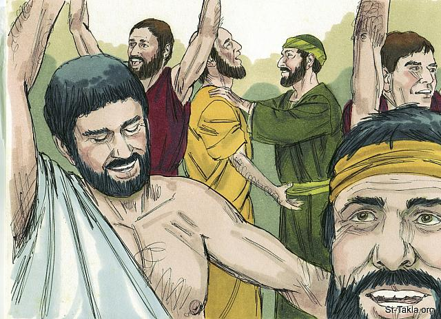 "St-Takla.org Image: Then when Paul laid his hands on them, the Holy Spirit came on them, and they spoke in other tongues and prophesied. There were about twelve men in all. (Acts 19: 6-7) - ""Paul in Ephesus"" images set (Acts 19:1-22): image (5) - Acts, Bible illustrations by James Padgett (1931-2009), published by Sweet Media صورة في موقع الأنبا تكلا: ""ولما وضع بولس يديه عليهم حل الروح القدس عليهم، فطفقوا يتكلمون بلغات ويتنبأون. وكان جميع الرجال نحو اثني عشر"" (أعمال الرسل 19: 6-7) - مجموعة ""بولس في أفسس"" (أعمال الرسل 19: 1-22) - صورة (5) - صور سفر أعمال الرسل، رسم جيمز بادجيت (1931-2009)، إصدار شركة سويت ميديا"