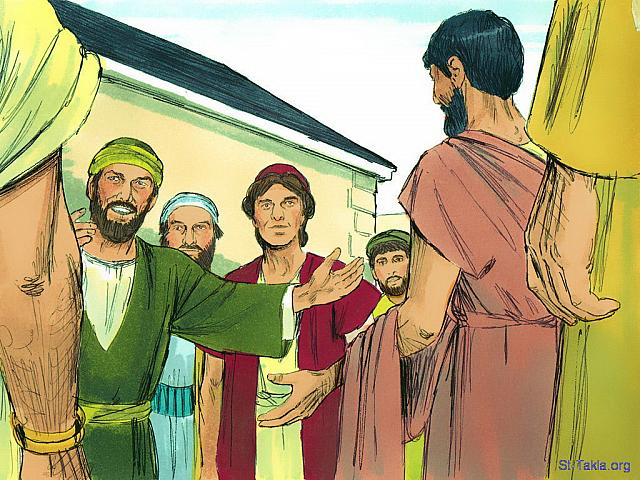 "St-Takla.org Image: Several men were traveling with Paul. They were Sopater from Berea; Aristarchus and Secundus from Thessalonica; Gaius from Derbe; Timothy, Tychicus and Trophimus from Asia. They went on ahead and waited for Paul at Troas. (Acts 20: 4-5) - ""Paul returns via Troas and Miletus"" images set (Acts 20:1-38): image (7) - Acts, Bible illustrations by James Padgett (1931-2009), published by Sweet Media صورة في موقع الأنبا تكلا: ""فرافقه إلى أسيا سوباترس البيري، ومن أهل تسالونيكي: أرسترخس وسكوندس وغايوس الدربي وتيموثاوس. ومن أهل أسيا: تيخيكس وتروفيمس. هؤلاء سبقوا وانتظرونا في ترواس"" (أعمال الرسل 20: 4-5) - مجموعة ""عودة بولس من طريق ترواس وميليتس"" (أعمال الرسل 20: 1-38) - صورة (7) - صور سفر أعمال الرسل، رسم جيمز بادجيت (1931-2009)، إصدار شركة سويت ميديا"