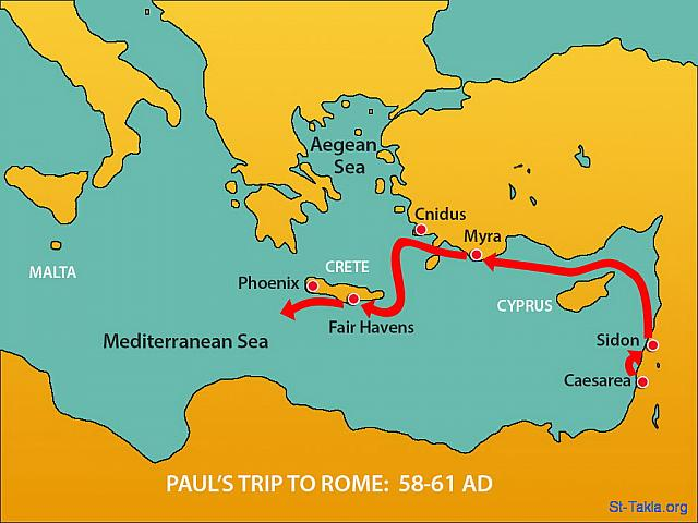 "St-Takla.org Image: Map: Paul's trip to Rome (58-61 AD): Since Fair Havens was an exposed harbor, most of the crew wanted to sail up the coast to Phoenix, which was more sheltered, and spend the winter there. So they pulled up anchor and sailed close to the shore of Crete. But the weather changed abruptly, and a 'northeaster' - a wind of typhoon strength - swept across the island and blew them them out to sea. (Acts 27: 12-14) - ""Paul is shipwrecked"" images set (Acts 27:1-44): image (8) - Acts, Bible illustrations (1931-2009), published by Sweet Media صورة في موقع الأنبا تكلا: خريطة: رحلة بولس الرسول إلى روما (58-61 م.): ""ولأن المينا لم يكن موقعها صالحا للمشتى، استقر رأي أكثرهم أن يقلعوا من هناك أيضا، عسى أن يمكنهم الإقبال إلى فينكس ليشتوا فيها. وهي مينا في كريت تنظر نحو الجنوب والشمال الغربيين. فلما نسمت ريح جنوب، ظنوا أنهم قد ملكوا مقصدهم، فرفعوا المرساة وطفقوا يتجاوزون كريت على أكثر قرب. ولكن بعد قليل هاجت عليها ريح زوبعية يقال لها «أوروكليدون»"" (أعمال الرسل 27: 12-14) - مجموعة ""انكسار السفينة ببولس"" (أعمال الرسل 27: 1-44) - صورة (8) - صور سفر أعمال الرسل (1931-2009)، إصدار شركة سويت ميديا"