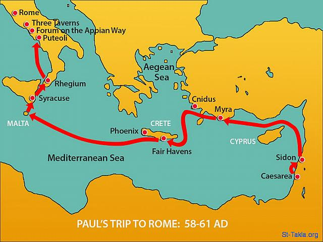 "St-Takla.org Image: Map: Paul's trip to Rome (58-61 AD): From there they made their way north to Rome. Christians in Rome had heard they were on the way and traveled to meet Paul at the Forum on the Appian Way. Others joined Paul at The Three Taverns. (Acts 28: 14-15) - ""Paul arrives in Rome"" images set (Acts 28:1-31): image (8) - Acts, Bible illustrations (1931-2009), published by Sweet Media صورة في موقع الأنبا تكلا: خريطة: رحلة بولس الرسول إلى روما (58-61 م.): ""وهكذا أتينا إلى رومية. ومن هناك لما سمع الإخوة بخبرنا، خرجوا لاستقبالنا إلى فورن أبيوس والثلاثة الحوانيت"" (أعمال الرسل 28: 14-15) - مجموعة ""عودة بولس إلى روما"" (أعمال الرسل 28: 1-31) - صورة (8) - صور سفر أعمال الرسل (1931-2009)، إصدار شركة سويت ميديا"