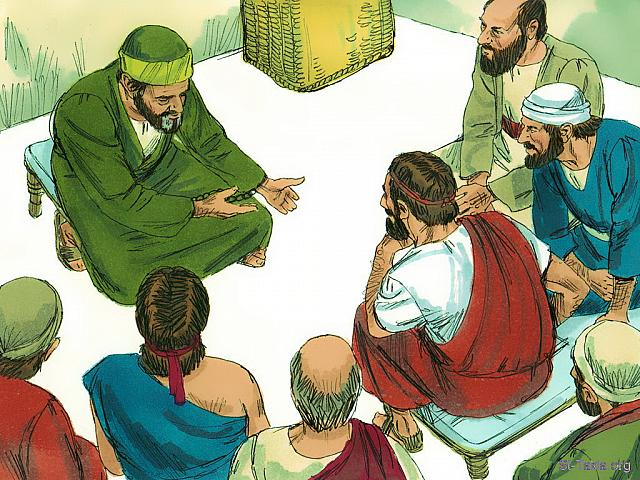 "St-Takla.org Image: When Paul saw them, he was encouraged and thanked God (Acts 28: 15) - ""Paul arrives in Rome"" images set (Acts 28:1-31): image (9) - Acts, Bible illustrations by James Padgett (1931-2009), published by Sweet Media صورة في موقع الأنبا تكلا: ""فلما رآهم بولس شكر الله وتشجع"" (أعمال الرسل 28: 15) - مجموعة ""عودة بولس إلى روما"" (أعمال الرسل 28: 1-31) - صورة (9) - صور سفر أعمال الرسل، رسم جيمز بادجيت (1931-2009)، إصدار شركة سويت ميديا"