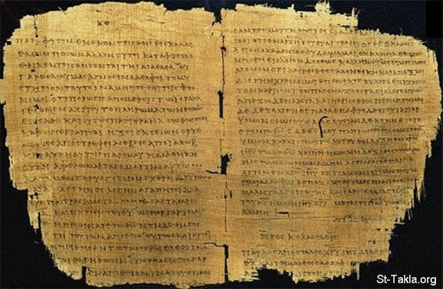 St-Takla.org Image: Copy of St. Paul's letter to the Romans c. AD 180-200 Greek text on papyrus ���� �� ���� ������ ����: ��� �� ����� ���� ������ ��� ��� ����ɡ 180-200 ������� - ���� ������ ����� ��� ��� ����