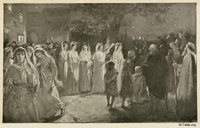 "St-Takla.org Image: The Parable of the Wise and Foolish Virgins (Matthew 25: 1-13): Behold, the bridegroom cometh: ""And at midnight a cry was heard: 'Behold, the bridegroom is coming; go out to meet him!' Then all those virgins arose and trimmed their lamps."" - from: Christ's Object Lessons, by Ellen G. White, 1900. صورة في موقع الأنبا تكلا: مثل العذارى العشر/العشر عذارى (متى 25: 1-13): ""ففي نصف الليل صار صراخ: هوذا العريس مقبل، فاخرجن للقائه! فقامت جميع أولئك العذارى وأصلحن مصابيحهن."" - من كتاب دروس المسيح الموضوعية، إلين ج. وايت، 1900 م."