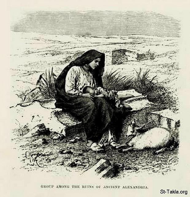 St-Takla.org Image: Group among the Ruins of Alexandria (a woman/mother with her baby child, and a young sheep), by Bernhard Fiedler - from the book: Egypt: Descriptive, Historical, and Picturesque- Vol. 1 - by Georg Ebers (tr. Clara Courtenay Poynter Bell), 1885. صورة في موقع الأنبا تكلا: أسرة بين الأطلال: أم مع ابنها الرضيع وخروف صغير: الأمومة، رسم الفنان بيرنهارد فيدلر - من صور كتاب: مصر: وصفيًّا، تاريخيًّا وتصويريًّا - جزء 1 - لـ جيورج إبيرس (ترجمة كلارا كورتناي بوينتر بيل)، 1885 م.