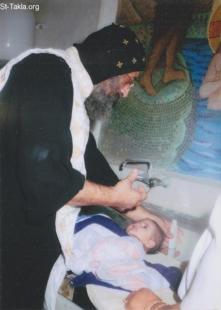St-Takla.org Image: His Grace Bishop Tawadros General Bishop of Beheira (later: His Holiness Pope Tawadrous II, #118) anointing a baby girl (Irene Fady Mikhail) with Holy Chrism Oil (Mayroun) after baptism, late 2008 or 2009 - added with permission of the family ���� �� ���� ������ ����: ����� ����� ������ ������ ������� ������ ����� �������� (������: ����� ������ ������� ������ 118) ���� ���� ���� ������ ���� ������� ������ (������ ���� �������) �� ����� 2008 �� 2009 - ������ ���� ������