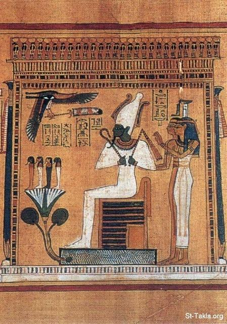 St-Takla.org Image: Osiris, seated in his shrine with Isis and Nephthys (British Museum), from the Book of the Dead ���� �� ���� ������ ����: ������� ���� ��� ����ԡ ����� ����� � ����� - ������ �� ������ ��������� �� ���� ������