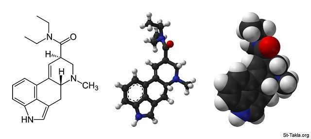 St-Takla.org Image: Skeletal formula and ball-and-stick and space-filling models of the lysergic acid diethylamide (LSD) molecule, C20H25N3O (Carbon, C: grey-black; Hydrogen, H: white; Nitrogen, N: blue; Oxygen, O: red) صورة في موقع الأنبا تكلا: صيغة هيكلية لـ: ليسيرجيك أسيد دايإيثيلاميد (إل إس دي)