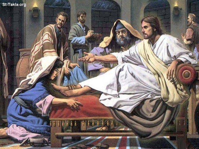 St-Takla.org Image: The sinful woman who enters a Pharisee's house and washes Jesus' feet with her tears, dries them with her hair and anoints them with expensive ointment صورة في موقع الأنبا تكلا: المرأه الخاطئه التي دخلت بيت الفريسي وغسلت قدمي يسوع بدموعها، ومسحتهما بشعر رأسها، ودهنتهما بالطيب الكثير الثمن