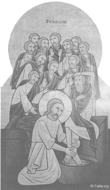 St-Takla.org Image: Jesus Christ washing the feet of the Twelve Disciples - Modern Coptic icon, painted by the nuns of Saint Demiana Monastery, Egypt ���� �� ���� ������ ����: ����� ������ ���� ���� ����� �������� ������ ��� - ������ ����� ����� �� ��� ������ ��� ������� ������ �������� ���