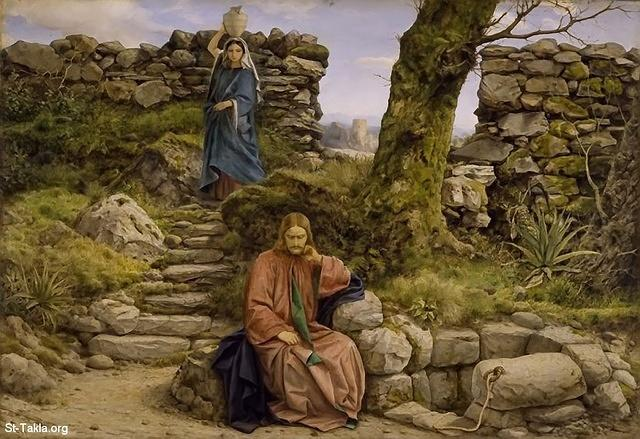 "St-Takla.org Image: The Woman of Samaria by William Dyce, 1860 - Jesus waiting for El Samerya - So He came to a city of Samaria which is called Sychar, near the plot of ground that Jacob gave to his son Joseph. Now Jacob's well was there. Jesus therefore, being wearied from His journey, sat thus by the well. It was about the sixth hour. A woman of Samaria came to draw water. Jesus said to her, ""Give Me a drink. (John 4:5-7) صورة في موقع الأنبا تكلا: لوحة المرأة السامرية، رسم الفنان ويليام دايس، 1860 - السيد المسيح في إنتظار السامرية - ""فَأَتَى إِلَى مَدِينَةٍ مِنَ السَّامِرَةِ يُقَالُ لَهَا سُوخَارُ، بِقُرْبِ الضَّيْعَةِ الَّتِي وَهَبَهَا يَعْقُوبُ لِيُوسُفَ ابْنِهِ. وَكَانَتْ هُنَاكَ بِئْرُ يَعْقُوبَ. فَإِذْ كَانَ يَسُوعُ قَدْ تَعِبَ مِنَ السَّفَرِ، جَلَسَ هكَذَا عَلَى الْبِئْرِ، وَكَانَ نَحْوَ السَّاعَةِ السَّادِسَةِ. فَجَاءَتِ امْرَأَةٌ مِنَ السَّامِرَةِ لِتَسْتَقِيَ مَاءً، فَقَالَ لَهَا يَسُوعُ: «أَعْطِينِي لأَشْرَبَ»"" (يوحنا 4: 5-7)"