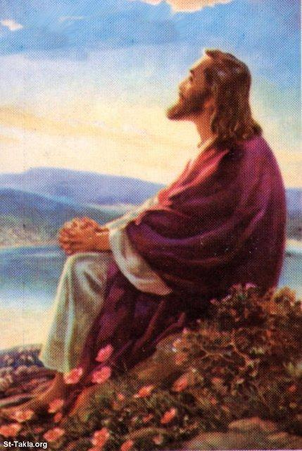 St-Takla.org Image: Jesus Christ in the wilderness, contemplating ���� �� ���� ������ ����: ����� ������ ���� �� ������ �� ���� ����
