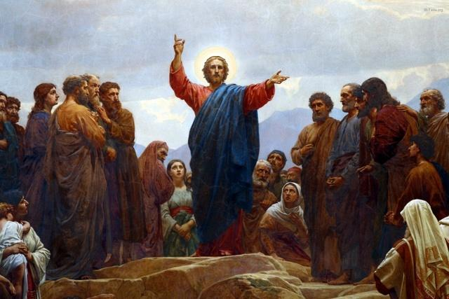 St-Takla.org Image: Jesus Preaching the Sermon of the Beatitudes, by Henrik Olrik (1830-1890), Copenhagen Church Altar ���� �� ���� ������ ����: ���� ����� ������ �� ����� ��� ����� ��� ������ ������ ����� (1830-1890)� ���� ����� ���������