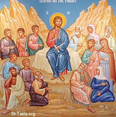 Image: Jesus Christ Preaching the Sermon on the Mount, Greek icon صورة السيد يسوع المسيح في العظة على الجبل، أيقونة يونانيةالعظة