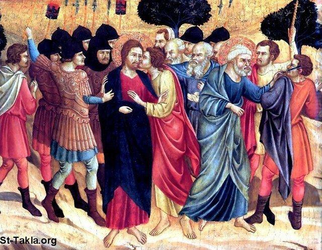 St-Takla.org         Image: The betrayal of Judas Iscariot, and showing Peter stretching out his hand with his sword, struck the servant of the high priest, and cut off his ear صورة: قبلة الخيانة، خيانة يهوذا الإسخريوطي، ويظهر في الصورة بطرس استل سيفه من غمده، وضرب عبد رئيس الكهنة، وقطع أذنه