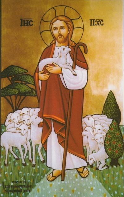 St-Takla.org Image: Christ Jesus the Good Shepherd - Modern Coptic icon, painted by the nuns of Saint Demiana Monastery, Egypt ���� �� ���� ������ ����: ����� ���� ������ ������ ������ - ������ ����� ����� �� ��� ������ ��� ������� ������ �������� ���